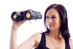 A girl and a pair of binoculars Stock Photos