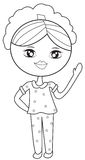 Girl in pajamas coloring page Royalty Free Stock Images