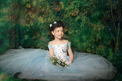 Girl in a pale blue ball gown Stock Image