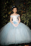 Girl in a pale blue ball gown Royalty Free Stock Images