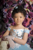 Girl in a pale blue ball gown Royalty Free Stock Photos