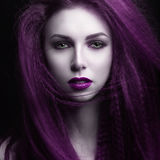The girl with pale skin and purple hair in the form of a vampire. Insta color. Stock Photography