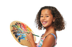 Girl with palette Stock Photos