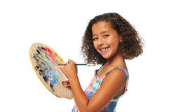 Girl with palette Stock Images