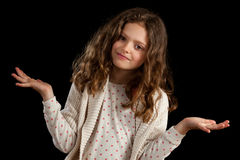 Girl With Palms Up Confused Stock Images