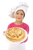 Girl with pancakes Royalty Free Stock Photo