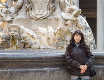 Girl in Pantheon Stock Photo