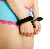 Girl in panties and handcuffs Stock Photography