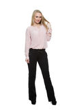 Girl in pants and blous.  Isolated on white. Background. body language Royalty Free Stock Photo