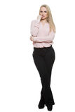 Girl in pants and blous.  Isolated on white. Background. body language Royalty Free Stock Photos