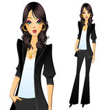Girl in a pantsuit. Secretary, manager, lawyer, accountant or clerk Stock Photos