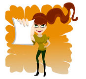 Girl with paper. Redhead girl with paper vector Stock Images