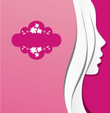 Girl paper. Paper background with female face Stock Photo