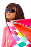 Girl with paper bags Stock Images