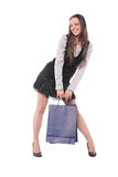 Girl with paper bags Royalty Free Stock Images
