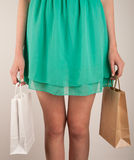 Girl with paper bags Royalty Free Stock Photos