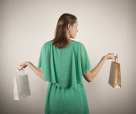 Girl with paper bags Stock Image