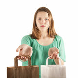 Girl with paper bags Royalty Free Stock Image