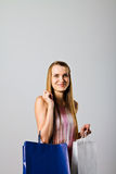 Girl and paper bags. Stock Photo