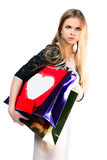 Girl with paper bags for shopping Royalty Free Stock Photos