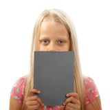 Girl with a paper board Stock Photography