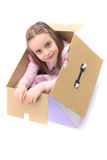 Girl in the paper box Royalty Free Stock Image