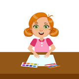 Girl With Paper, Paint And Brush, Elementary School Art Class Vector Illustration Stock Photography