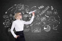 Girl with paper plane and business icons Stock Photos