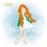 Girl with paper plane. Vector illustration of a girl with paper planes in the sky vector illustration