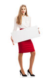 Girl with paper for text Stock Photo