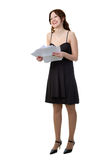 Girl with papers Royalty Free Stock Image