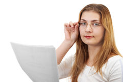 Girl with papers Royalty Free Stock Images