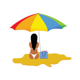 Girl on the paradise beach illustration Royalty Free Stock Image