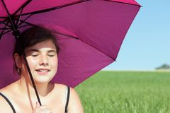 Girl with parasol Stock Photo