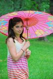 Girl with Parasol stock photos