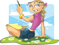 Girl and parchment. Vector pretty girl and parchment Stock Image