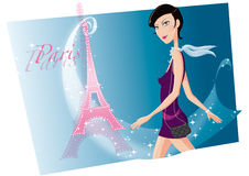 Girl in Paris. With Eiffel tower in the background Royalty Free Stock Photography