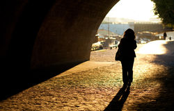 Girl in Paris at early morning Royalty Free Stock Photography