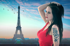 Girl in Paris with Eiffel Tower Stock Photo