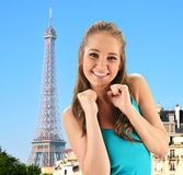 girl in Paris over Eiffel Tower Royalty Free Stock Photos