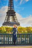 Girl in Paris on a spring or fall day Royalty Free Stock Photos