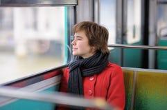 Girl in Parisian metro Stock Image