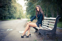 Girl in park. Shoes Stock Photos