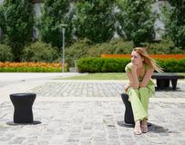 Girl in the park alone Royalty Free Stock Photography