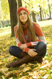 Girl in the Park in autumn Royalty Free Stock Photography