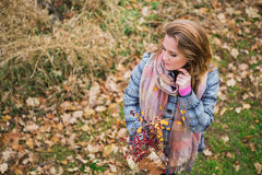 Girl in the Park. Beautiful girl in the autumn park. In a long scarf and a plaid coat Stock Image