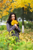 Girl in park colourful autumn Royalty Free Stock Images