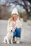The girl in the park with his beloved dog Royalty Free Stock Photography