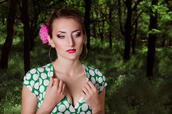 Girl in the park. Girl with makeup in the park Royalty Free Stock Images