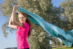 Girl in park with shawl Stock Photography
